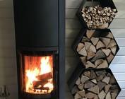 Etagiere  pour le stockage de bois de chauffage à l'intérieur enduit de poudre ou d`acier inoxydable