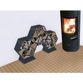 Versandmetall Legbord voor brandhout HEXAGON 5-delig formaat XL gemaakt van staal oppervlakke poedercoated