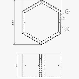 Versandmetall Ètagère  de bois de chauffage HEXAGON composé de 3 modules de différentes tailles XL  avec 1 piedestal produit en acier surface enduit de  poudre