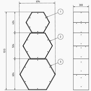 Versandmetall Kaminholzregal HEXAGON 3 verschieden große Module XL und 1 Sockel aus pulverbeschichtetem Stahl