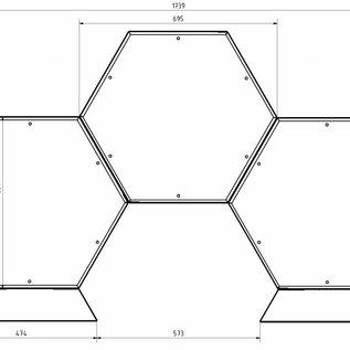 Versandmetall Kaminholzregal Brennholzregal Hexagon XL-360 bis 30cm lange Scheite 0,28m3 5-tl.