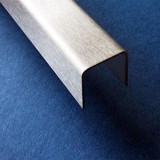 Versandmetall -5 Stück  Edelstahl U-Profil AUSSEN Korn 320 t=2,0mm AUSSEN Maße axcxb 20x45x20mm Länge=2500mm