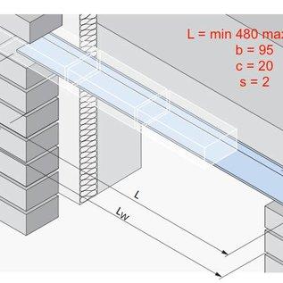 Versandmetall -68 Stck Edelstahlwinkel 2,0mm I N N E N  K320,  axbxL 95x20x2000mm lang