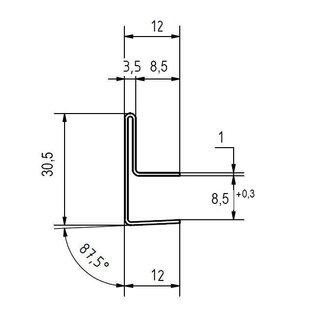 Versandmetall -16 Stück  Edelstahl Sonder-Einfasss-Profil AUSSEN Korn 320  Aussen Maße 12/30,5/12mm Längen 8x1500mm und 8x2500mm