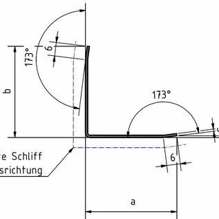 Versandmetall - 5 Stck Kantenschutzwinkel 3-fach gekantet 1,0mm aussen K320 axb 40x40mm: Länge 1500mm
