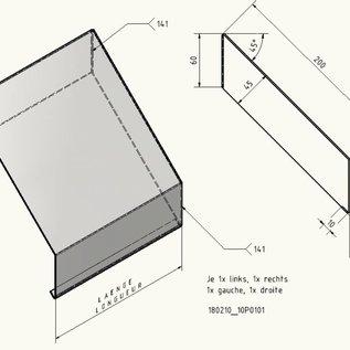 Versandmetall -7x4420mm Mauerabdeckung  assymetrisch nach Skizze 1,5 mm aus Alu natur Breite 200mm h45mm (14x2210mm)  7x Verbinder gerade, 1,0mm
