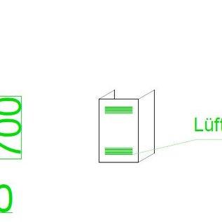 Versandmetall -Edelstahl U-Profil Verkleidung mit Lüftungsschlitzen AUSSEN Korn 320  Aussen Maße axcxb200x440x200mm Länge=700mm