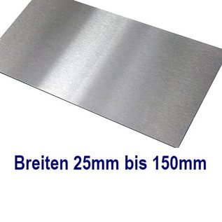 Edelstahl Blech Zuschnitte 1.4301 von 25 bis 150mm Breite bis Länge 1500mm
