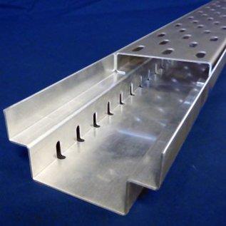 Versandmetall -Set 11mtr ( 5x2m 1x1m) Drainagerinne From A Einlaufbreite 200mm aus 1mm Edelstahl, Edelstahl Einlaufrost 1,0mm ungelocht 190mm breit 15mm hoch auf Abstandsleisten 5x10mm gelagert.
