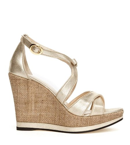 Fabienne Chapot Bow Wedge Champagne Metallic