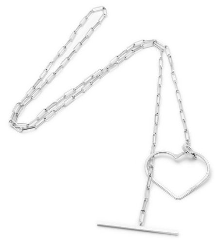 SeeMe Medium Heart Long Rock Chain Silver