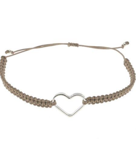 SeeMe Macrame Bracelet Small Heart Beige