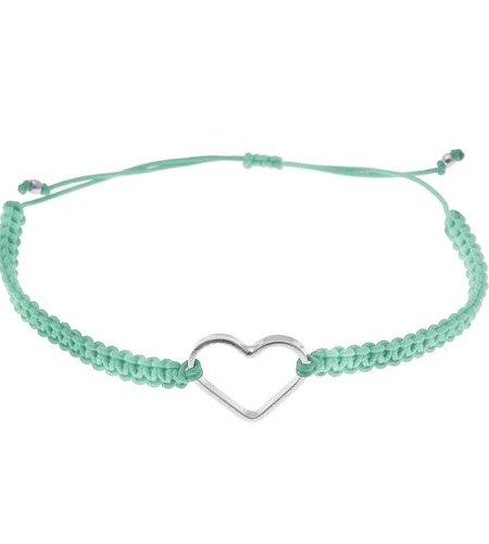 SeeMe Macrame Bracelet Small Heart Mint