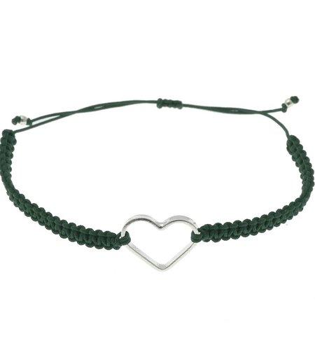 SeeMe Macrame Bracelet Small Heart Dark Green