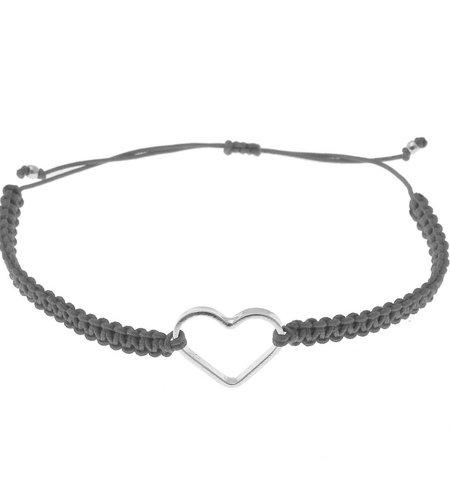 SeeMe Macrame Bracelet Small Heart Grey