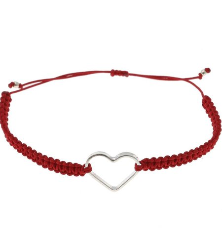 SeeMe Macrame Bracelet Small Heart Red