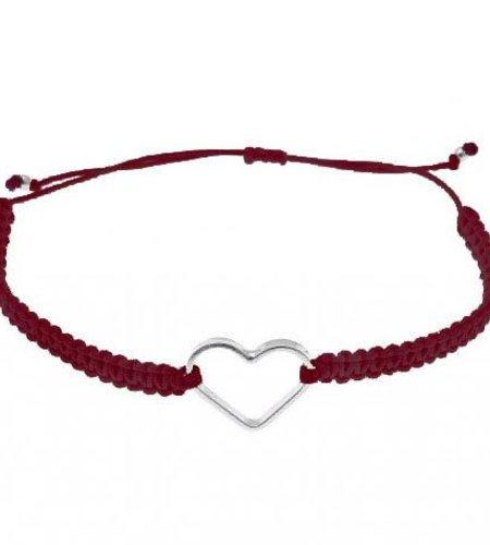 SeeMe Macrame Bracelet Small Heart Wine