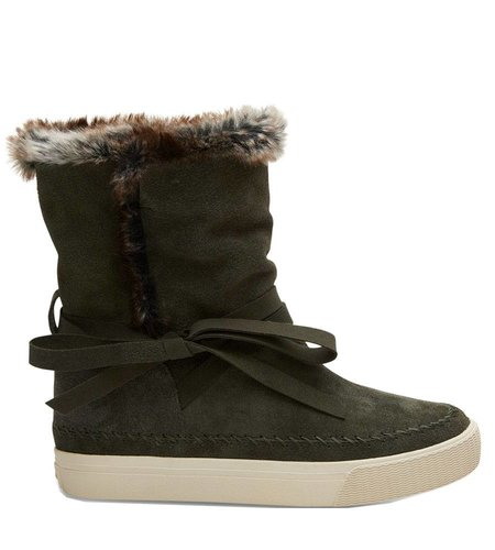 TOMS Vista Boot Suede Faux Fur Forest