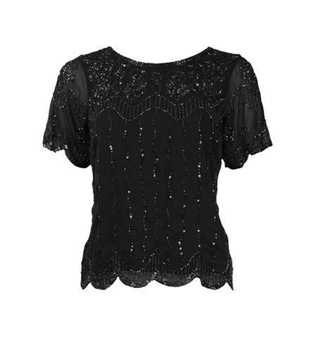 King Louie Embellished Top Boogie Black