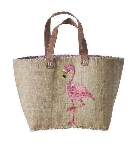 Rice Large Natural Shopping Bag with Pink Flamingo Embroidery