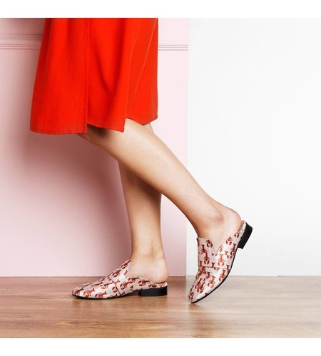 Fabienne Chapot Goldie Loafer Jacquard Light Pink Scarlet Red