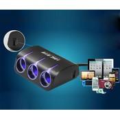 HSC Auto Splitter 1-naar-3 met Dubbele USB-Poort