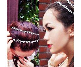 Glitter Haarband van Elastiek met Kristallen Bloemetjes