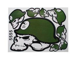 Doodshoofd Stickers Doodshoofd met Groene Helm