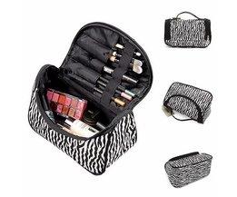 Compacte Make-up Tas met Zebra Print