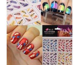 3D  Nagel Stickers met Veerdesign