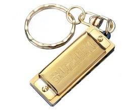 Gouden Harmonica Sleutelhanger