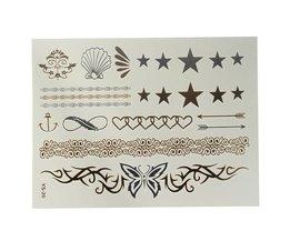 Goud Zilveren Nep Tattoo Sticker