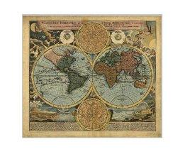 Poster Oude Wereldkaart
