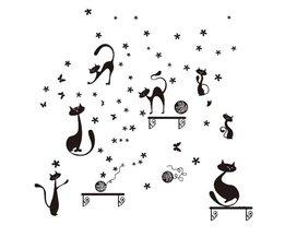Cartoon Katten Stickers voor op de Muur