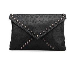 Zwarte Dames Clutch Tas met Doodskop Print en Zwarte Studs