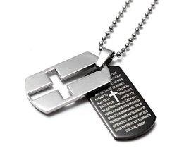 Ketting met Kruis en Bijbeltekst van Roestvrij Staal