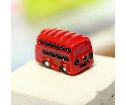 Mini Rode Bus voor Micro Landschap Decoratie