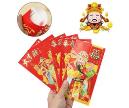Nouvel An Enveloppe Rouge Chinoise God Of Wealth 6 Pieces
