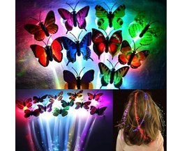 Glow In The Hair Extensions Noir Avec LED