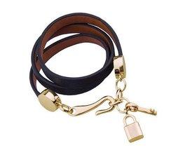 Gainé De Cuir Bracelet Plaqué Or 18K Fermoir