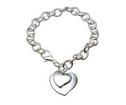 Bracelet Avec 925 Coeur Pendentif En Argent