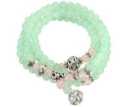 Chaîne De Prière Bouddhiste Bracelet Vert Pomme Calcédoine