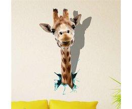 Autocollant Mural PAG 3D Avec A Giraffe