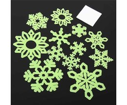Glow-In-The-Dark Snowflake Autocollants 12 Pièces