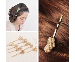 Hairpin D'Or Avec Des Perles D'Art