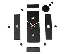 Noir Horloge Murale 3D