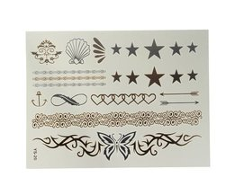 Autocollant Or Argent Faux Tattoo