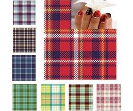Nail Stickers Avec Motif Écossais