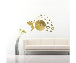 Sticker Horloge Murale Avec Des Coeurs Et Miroir