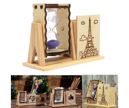 Hourglass En Bois Avec Pen Holder